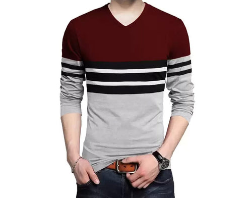 Tripr Color Block Men V Neck Maroon, Grey T-Shirt