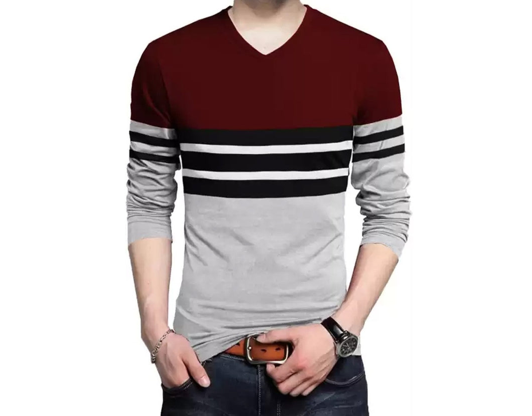 Color Block Men V Neck Maroon, Grey T-Shirt