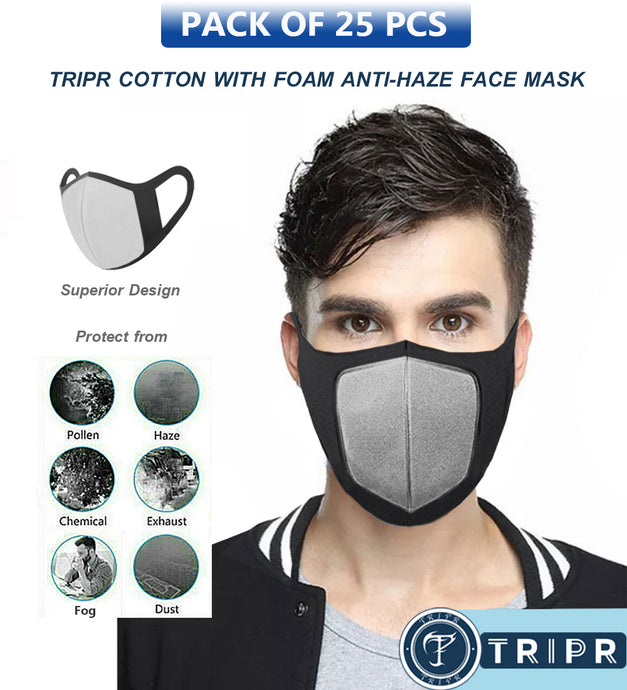 TRIPR REUSABLE COTTON WITH FOAM FACE MASK (PACK OF 25 PIECES) BLACK GREY