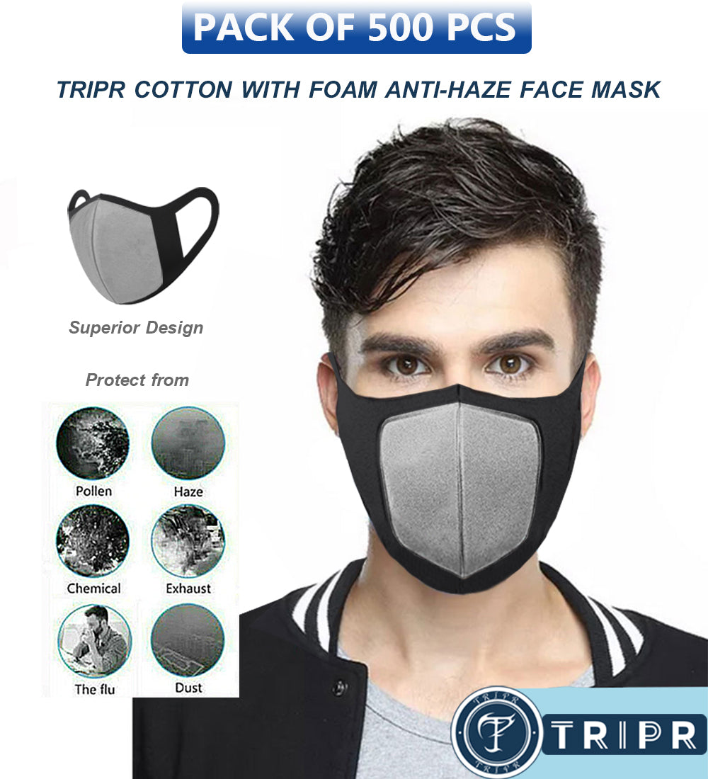 TRIPR REUSABLE COTTON WITH FOAM FACE MASK (PACK OF 500 PIECES) BLACK GREY