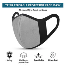 TRIPR REUSABLE COTTON WITH FOAM FACE MASK (PACK OF 100 PIECES) BLACK GREY