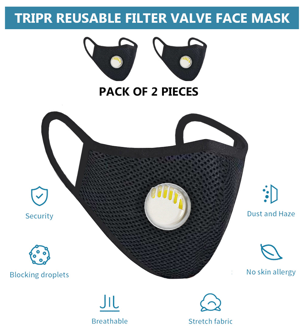 Tripr Reusable protective face mask pack of 2  (Black)