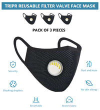 Tripr Reusable protective face mask pack of 3  (Black)