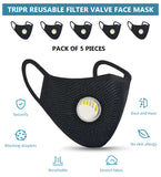Tripr Reusable protective face mask pack of 5  (Black)