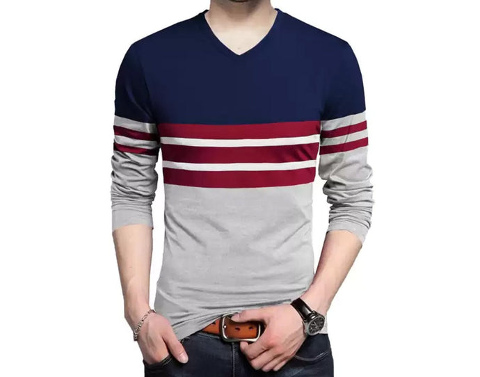 Color Block Men V Neck Dark Blue, Grey T-Shirt