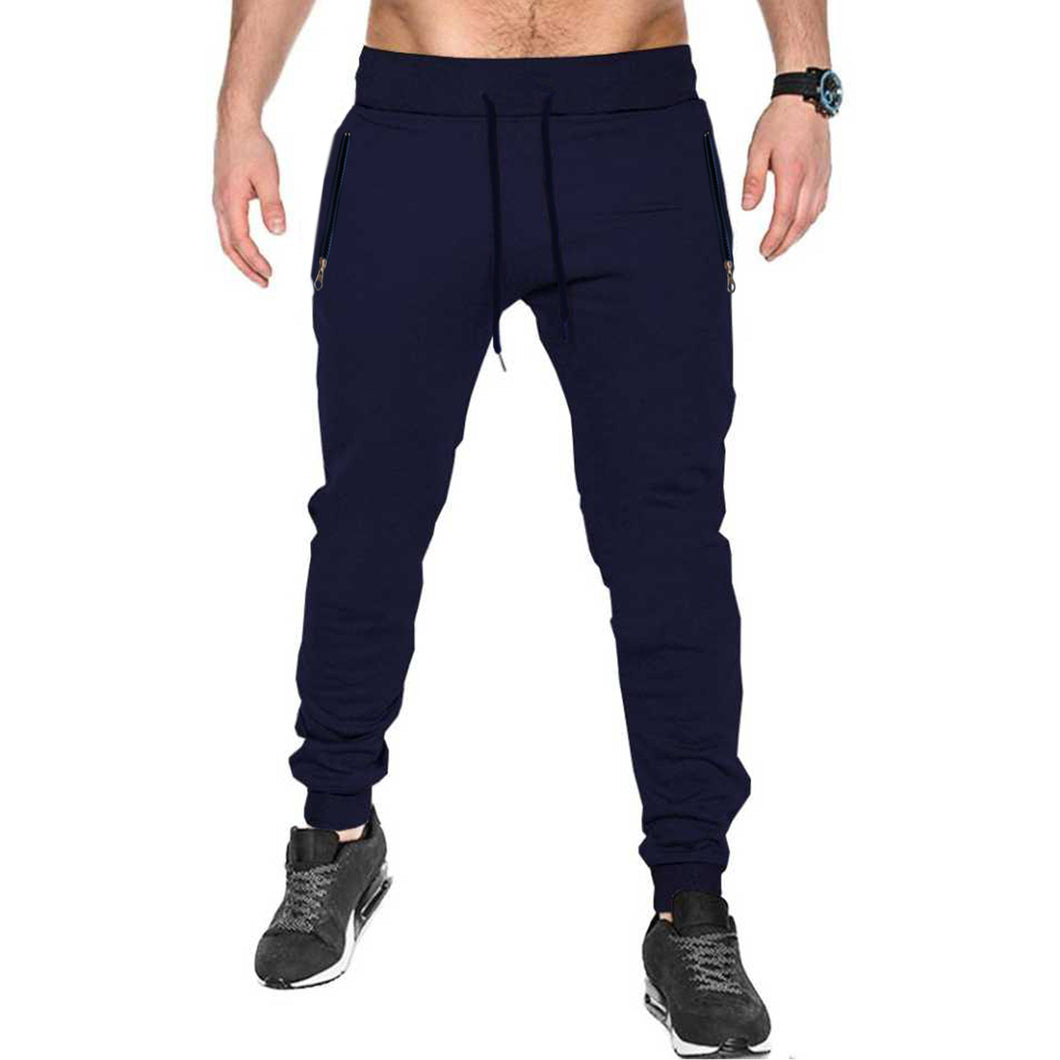 Tripr Solid Men Dark Blue Track Pants with zipper