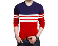 Color Block Men V Neck Dark Blue, Red T-Shirt