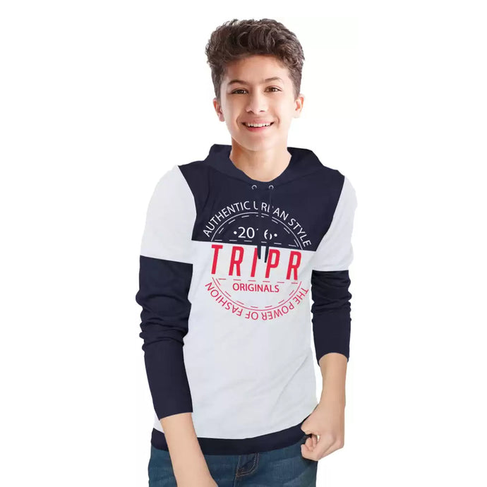 Tripr Boys Printed Cotton Blend T Shirt Dark Blue
