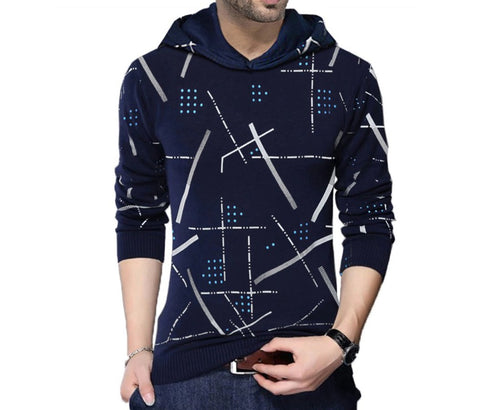 Tripr Printed Men Hooded Dark Blue T-Shirt