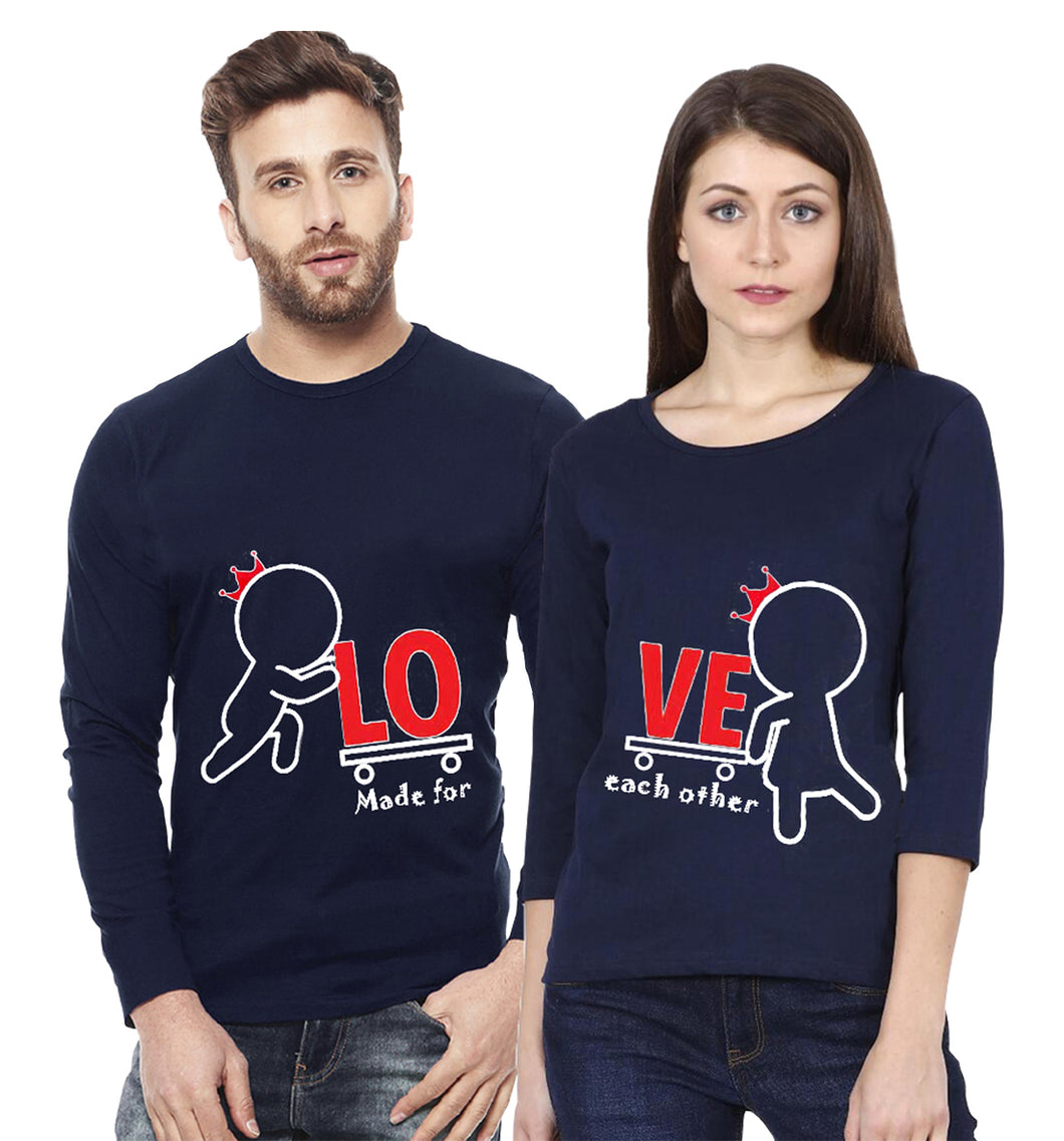 Tripr Printed Men and Women Couple Navy Blue T-Shirt PACK of 2