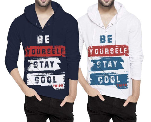 Tripr Printed Men Hooded Neck Navy White T-Shirt (Pack of 2)