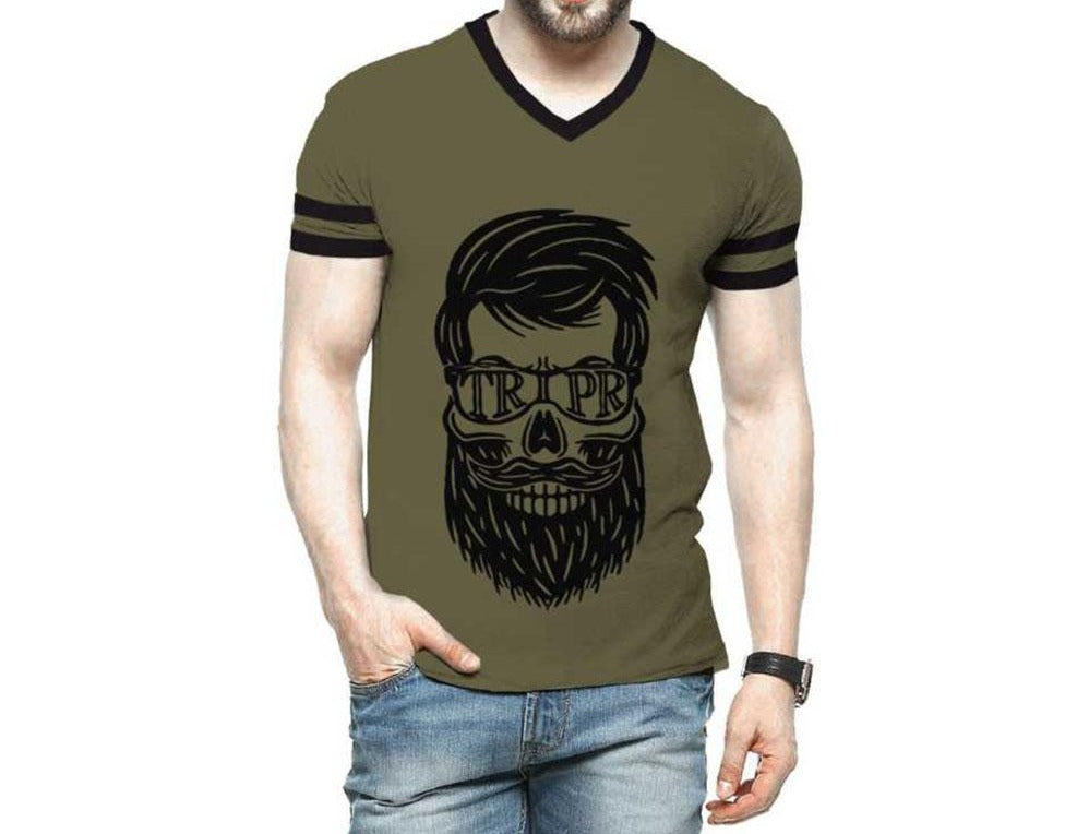 Tripr Printed Men V Neck Green T-Shirt
