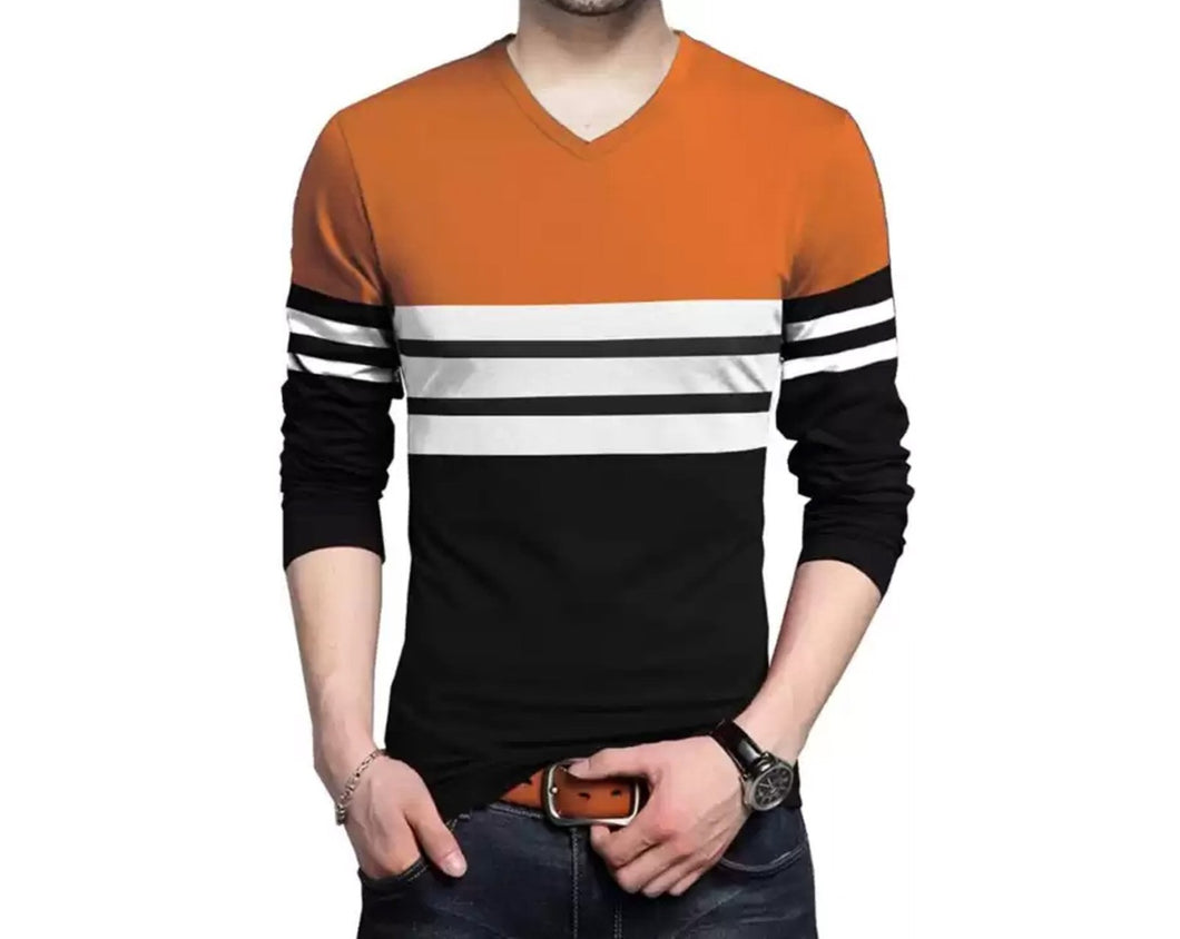 Color Block Men V Neck Orange, Black T-Shirt