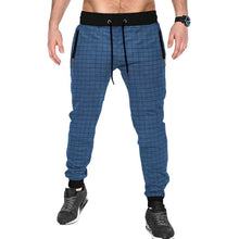 Tripr Checkered Men Dark Blue Track Pants with zipper