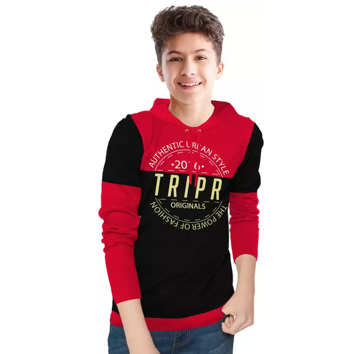 Tripr Boys Printed Cotton Blend T Shirt Red