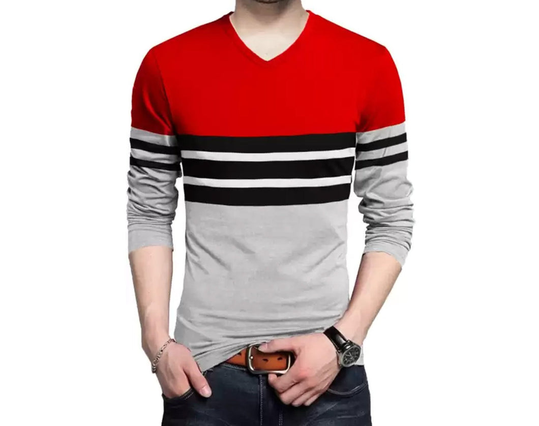 Color Block Men V Neck Red, Grey T-Shirt