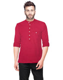 Tripr  Men Textured Pure Cotton Straight Kurta (RED)