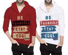 Tripr Printed Men Hooded Neck Red White T-Shirt (Pack of 2)