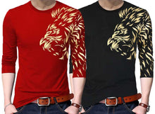 Tripr Graphic Print Men Round Neck Red Black T-Shirt (Pack of2)