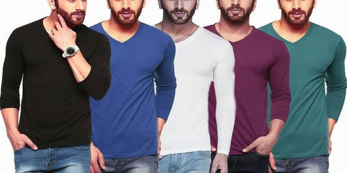 Tripr Solid Men's V-neck Multicolor Black, Royal-Blue, White, Maroon, Green T-Shirt  (Pack of 5)