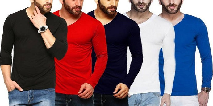 Tripr Solid Men's V-neck Multicolor, Black, Red, Navy Blue, White, Royal-Blue T-Shirt  (Pack of 5)