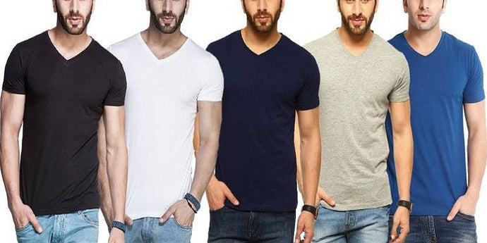 Tripr Solid Men's V-neck Multicolor, Black, White, Navy, Grey, Royal-Blue T-Shirt  (Pack of 5)
