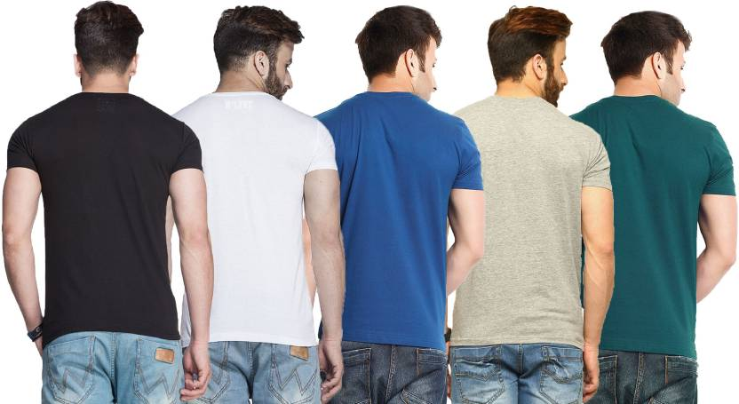 Tripr Solid Men's V-neck Multicolor Black, White, Royal-Blue, Grey, Green T-Shirt  (Pack of 5)