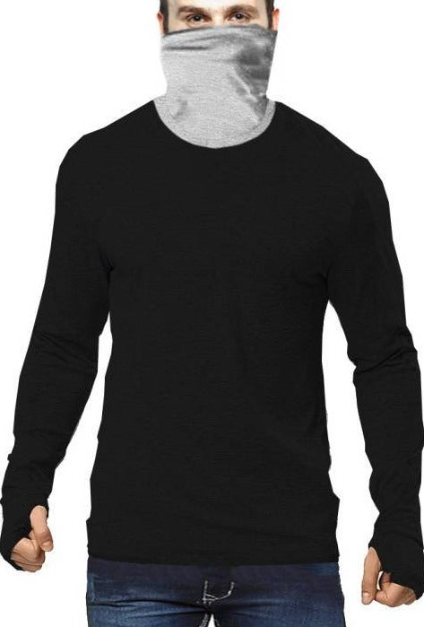 Tripr Solid Men Mock Neck Black T-Shirt