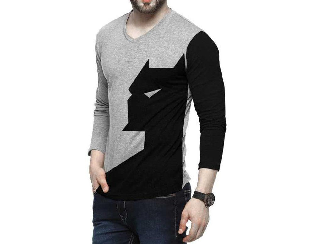Tripr Color Block Men V-Neck Black, Grey T-Shirt