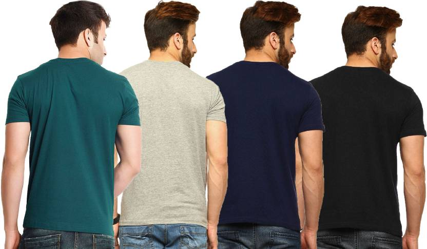 Tripr Solid Men's V-neck Green, Grey, Black, Navy Blue T-Shirt  (Pack of 4)