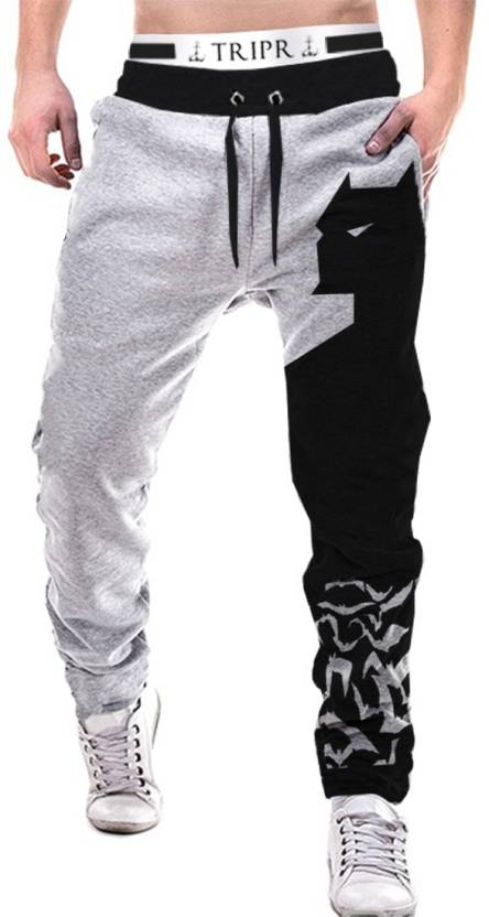 Tripr Printed Men Grey Track Pants
