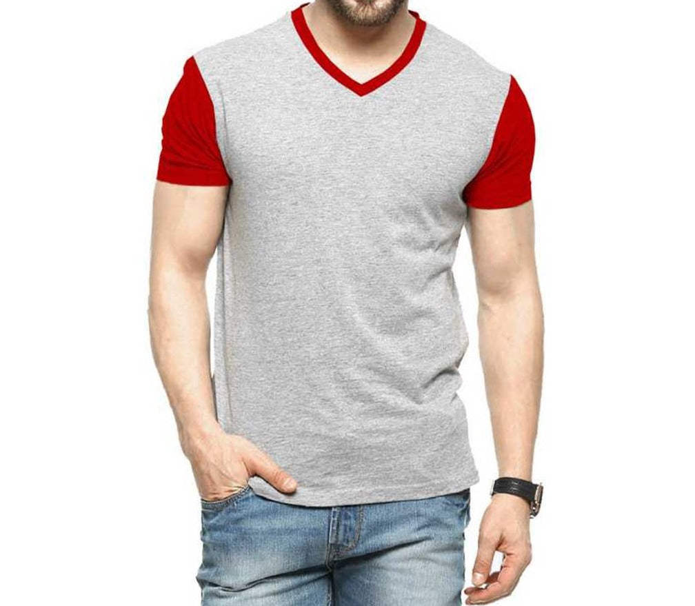 Tripr Men's V-Neck Tshirt Grey Red