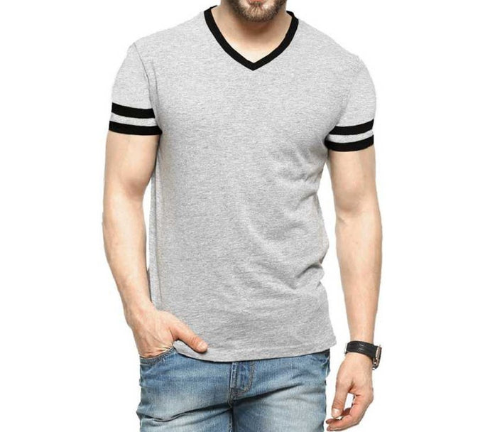 Tripr Men's V-Neck Tshirt Grey Strip