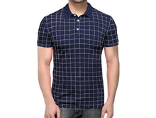 Tripr Checkered Men Polo Neck Dark Blue T-Shirt