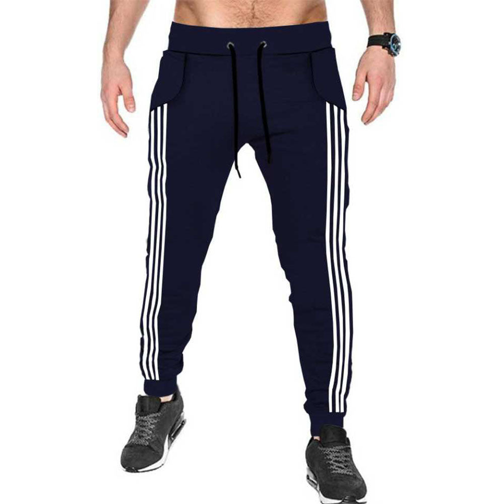 Tripr Striped Men Dark Blue, White Track Pants