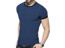 Tripr  Checkered Men Round Neck Blue, Black T-Shirt