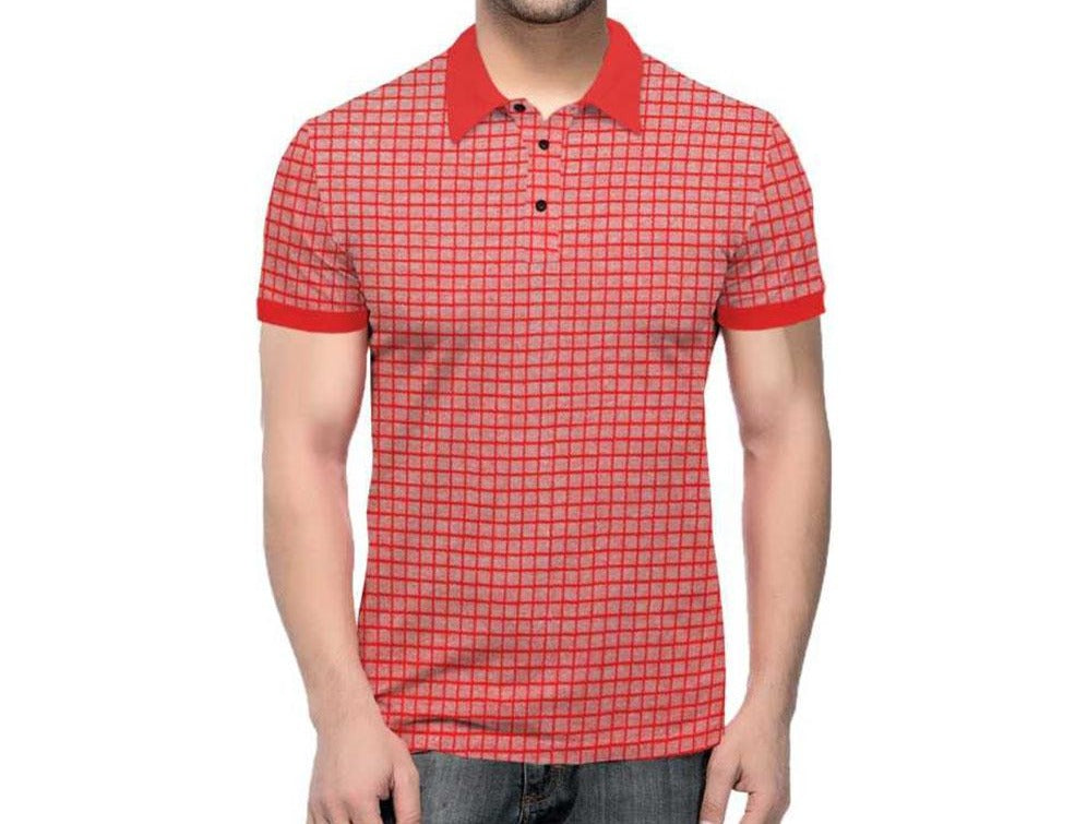 Tripr Checkered Men Polo Neck Red, Grey T-Shirt
