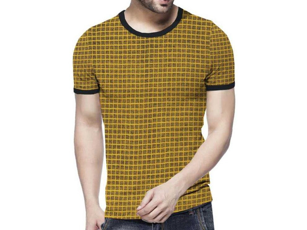 Tripr Checkered Yellow Men Round Neck Yellow T-Shirt