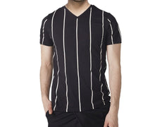 Tripr Striped Men V-neck Black T-Shirt