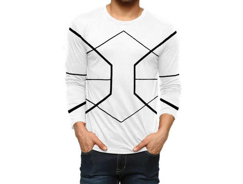 Tripr Geometric Print Men Round or Crew White T-Shirt