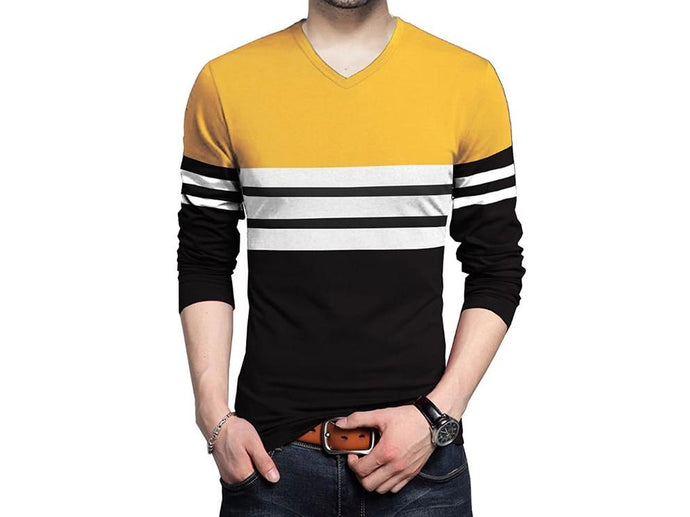 Color Block Men V Neck Yellow Black T-Shirt