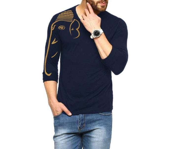 Tripr Printed Men V Neck Dark Blue T-Shirt