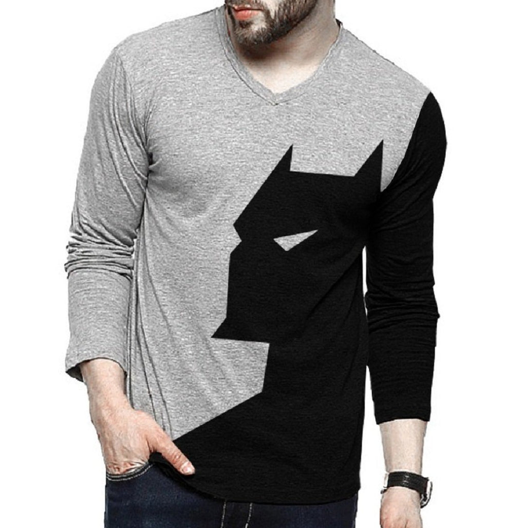 Tripr Men's Printed V-Neck Full Sleeves Tshirt