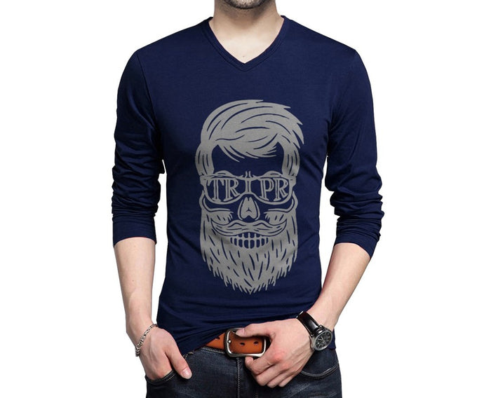 Printed Men V-neck Dark Blue T-Shirt