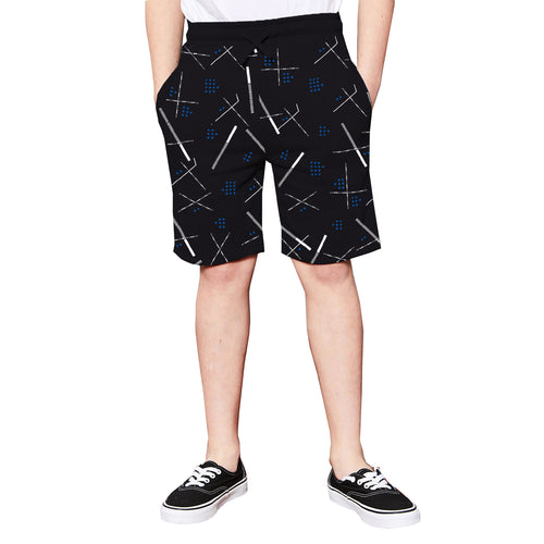 Tripr Short For Kids Casual Printed Cotton Blend  (Black, Pack of 1)