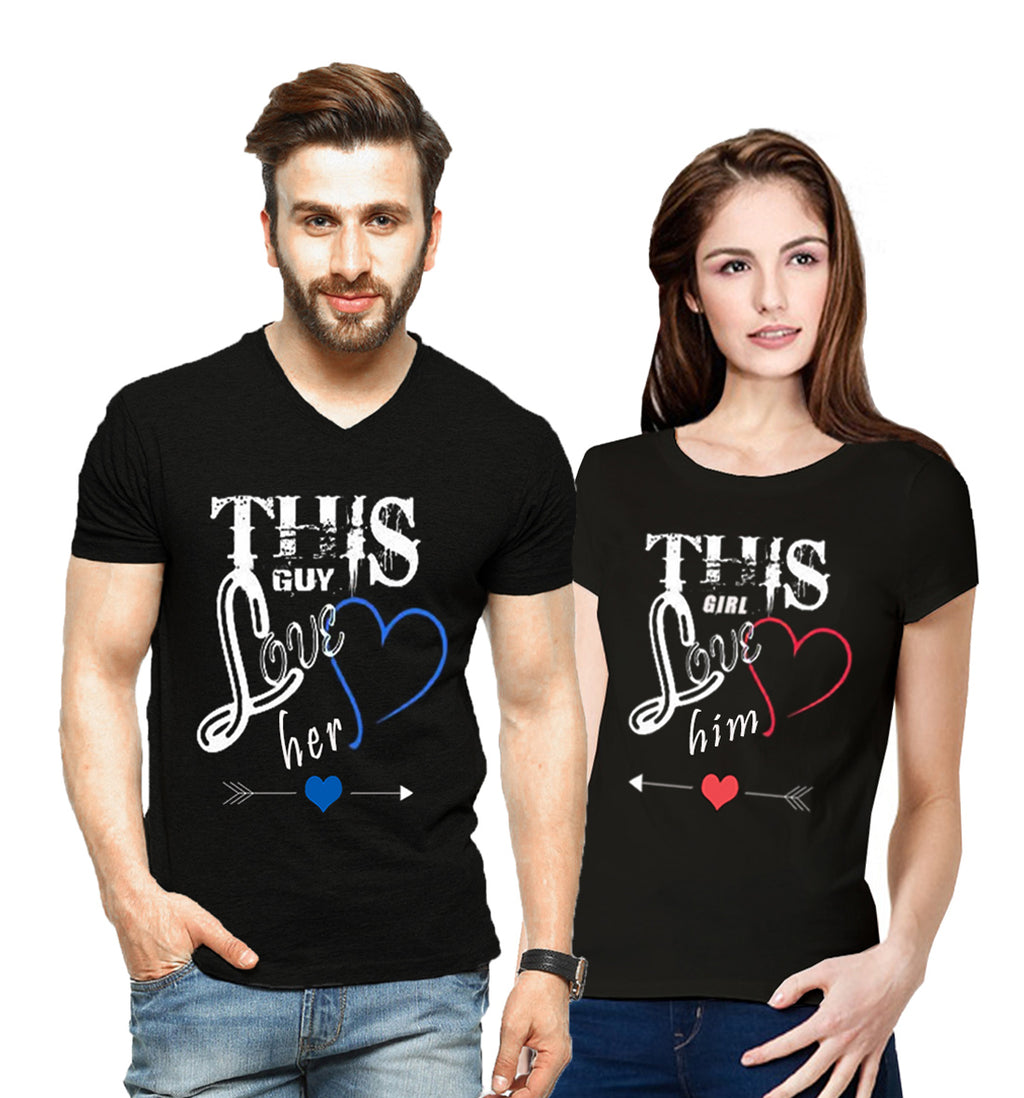 Tripr Printed Men and Women Couple Black T-Shirt PACK of 2