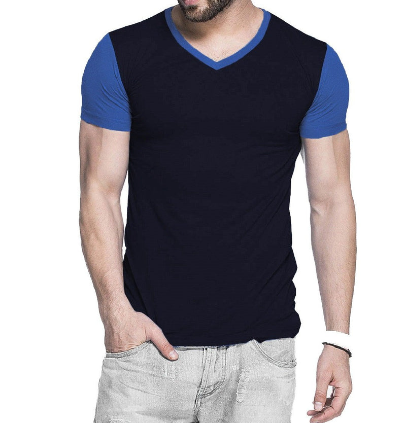 Tripr Men's V-Neck Tshirt Black Royalblue