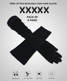 TRIPR REUSABLE COTTON FULL HAND GLOVES BLACK (PACK OF 5 SETS)