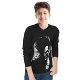 Tripr kids  Printed Cotton Blend T Shirt  (Black, Pack of 1)