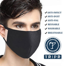 TRIPR REUSABLE COTTON WITH FOAM FACE MASK (PACK OF 25 PIECES) BLACK